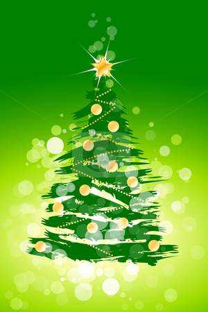 Christmas tree background stock vector clipart, Christmas background with sparkles and Christmas tree for your design by Vadym Nechyporenko
