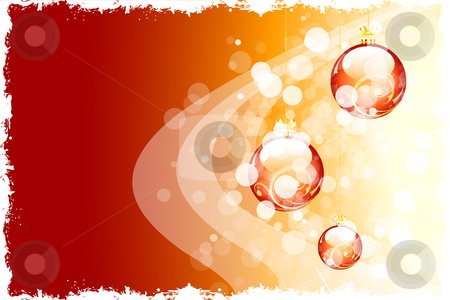 Grunge Christmas background stock vector clipart, Grunge red Christmas background with Christmas balls and sparkles by Vadym Nechyporenko