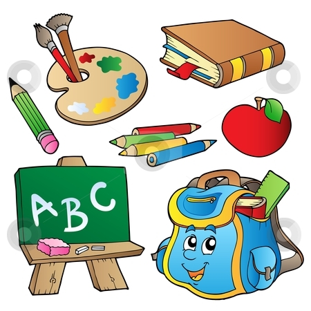 School cartoons collection stock vector clipart, School cartoons collection - vector illustration. by Klara Viskova