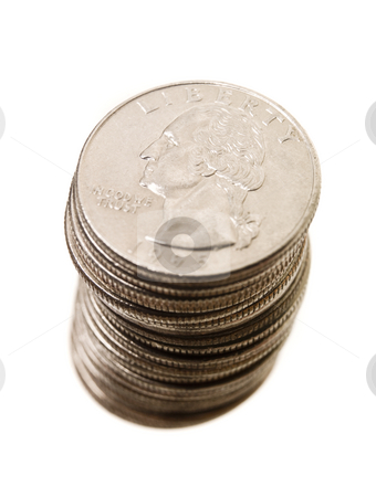 Stack of Coins stock photo, Stack of Quarter Coins isolated on white Background by Anne-Louise Quarfoth