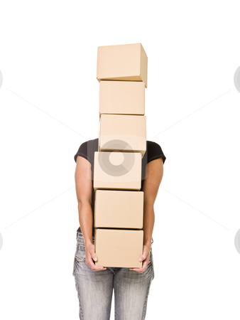 Woman carrying Cardboard Boxes stock photo, Woman carrying Cardboard Boxes isolated on white background by Anne-Louise Quarfoth