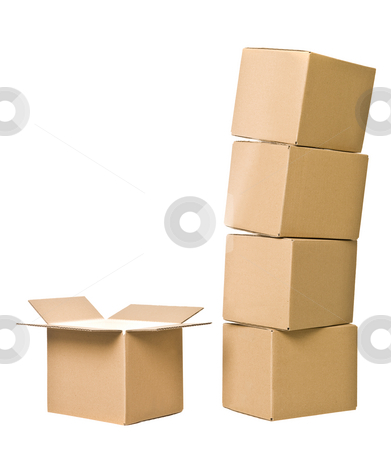 Cardboard Boxes stock photo, Stack of Cardboard boxes and one opened isolated on white background by Anne-Louise Quarfoth