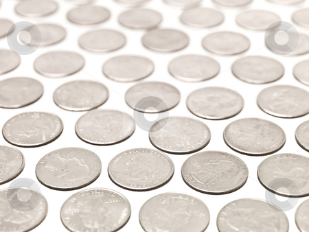 Quarter Coins stock photo, Arranged Quarter coins on white background by Anne-Louise Quarfoth