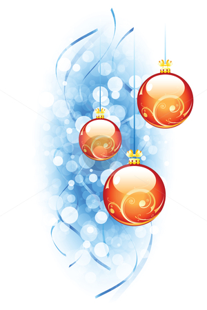 Christmas background stock vector clipart, Christmas background with Christmas balls and strips for your design by Vadym Nechyporenko