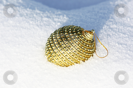 Happy Christmas stock photo, Christmas bauble in snow by Viktor Thaut