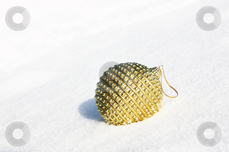 Christmas scene stock photo, Christmas bauble in snow by Viktor Thaut