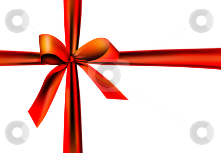 Red gift ribbon with knot stock photo, A red ribbon with a knot isolated on white by Viktor Thaut