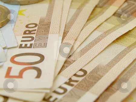 Euro currency banknotes and coins stock photo, Euro currency - legal tender of the European Union - banknotes and coins by Route66