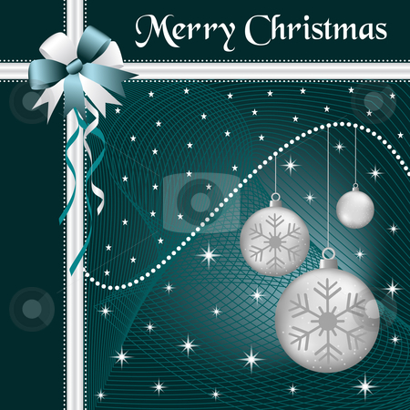 Xmas balls silver and bow stock vector clipart, Silver christmas balls with dark blue and silver bow and ribbon, decorated with stars on a dark blue glowing background. by toots77