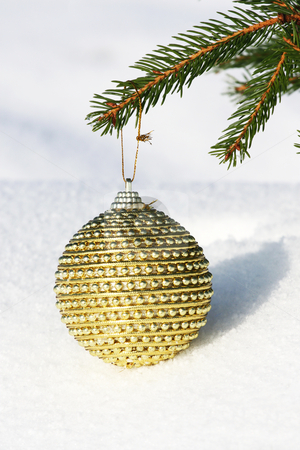 Christmas bauble on christmas tree stock photo, Christmas bauble on christmas tree by Viktor Thaut