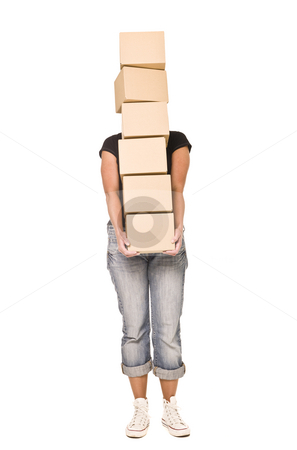 Woman carrying cardboard boxes stock photo, Woman carrying stack of Cardboard boxes isolated on white background by Anne-Louise Quarfoth