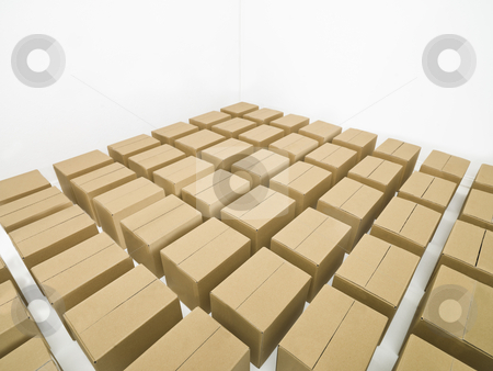 Arranged cardboard boxes stock photo, Arranged cardboard boxes on white background by Anne-Louise Quarfoth