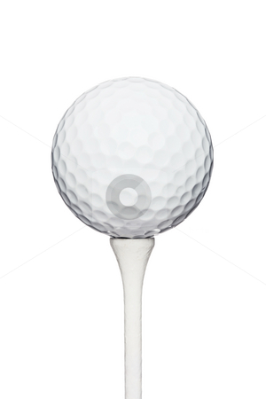 Golf ball on a tee stock photo, Professional golf ball on a wooden tee, against white background by Nikola Spasenoski