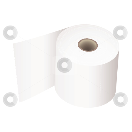 Toilet roll white stock vector clipart, White toilet roll with perforations and realistic shadow by Michael Travers