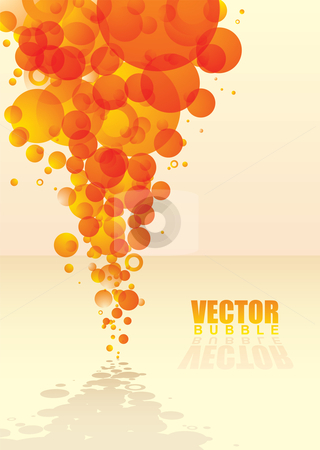 Bubble tastic citrus stock vector clipart, Orange abstract bubble background with shadow and reflection by Michael Travers