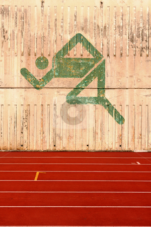Running track and a logo on the wall  stock photo, Running track and a logo on the wall. by Keng po Leung