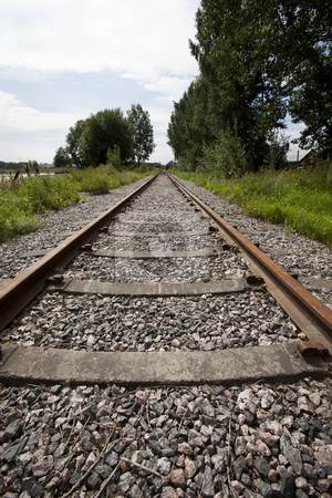 Railroad Track stock photo, Railroad Track vanishing into the distance by Anne-Louise Quarfoth