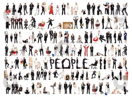 Collage of isolated people stock photo, Collage of a lots of people with different expression isolated on white background by Anne-Louise Quarfoth