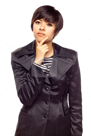 Pensive Young Mixed Race Woman with Hand to Chin stock photo, Pensive Young Mixed Race Woman with Hand to Chin Isolated on a White Background. by Andy Dean