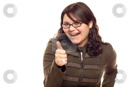 Excited Young Caucasian Woman With Thumbs Up on White stock photo, Excited Young Caucasian Woman With Thumbs Up Isolated on a White Background. by Andy Dean