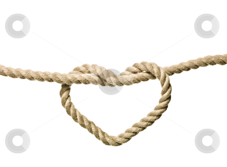 Heart Shaped Knot stock photo, Heart Shaped Knot on a rope isolated by Anne-Louise Quarfoth