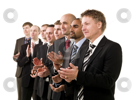 Business men clapping hands stock photo, Business men in a row clapping their hands by Anne-Louise Quarfoth