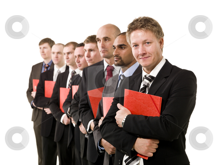 Business men with documents stock photo, Group of business men in a row with red documents by Anne-Louise Quarfoth