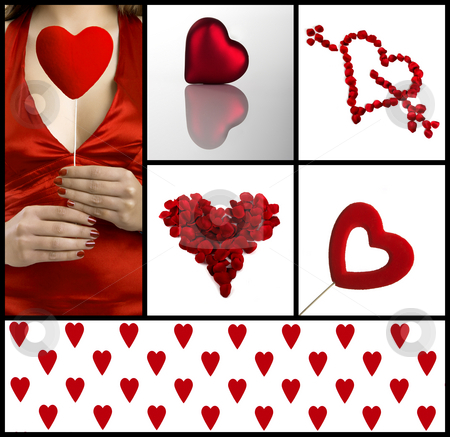 Valentine collage stock photo, Valentine related pictures with a beautiful woman with a heart on the hands by ikostudio