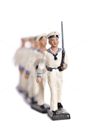 Toy Soldiers stock photo, Marching Toy Soldiers Isolated on White Background by Anne-Louise Quarfoth