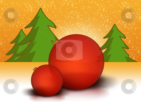 Christmas balls stock photo, Red Christmas balls in a winter landscape by Kasper Nymann