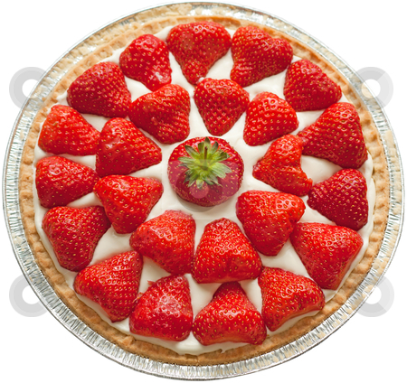 Strawberry Cheesecake stock photo, Homemade strawberry cheese cake isolated on white. by Brigida Soriano