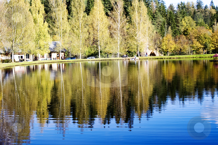 Beautiful forest lake in national park Ligatne stock photo, Beautiful forest lake in national park Ligatne, Latvia by Tatjana Keisa