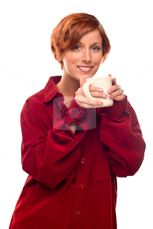 Pretty Red Haired Girl with Hot Drink Mug Isolated stock photo, Pretty Red Haired Girl with Hot Drink Mug Isolated on a White Background. by Andy Dean