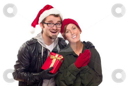 Warm Attractive Young Couple with Holiday Gift stock photo, Warm Attractive Young Couple with Holiday Gift Isolated on a White Background. by Andy Dean