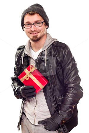 Warmly Dressed Handsome Young Adult Holding Gift stock photo, Warmly Dressed Handsome Young Man Holding Wrapped Gift Isolated on a White Background. by Andy Dean