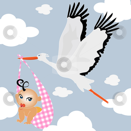 Delivery stork stock photo, Baby boy delivery stork background by Richard Laschon