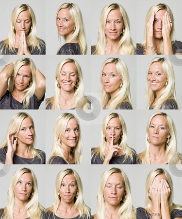 Sixteen facial expressions of a woman stock photo, Sixteen facial expressions of a woman by Anne-Louise Quarfoth