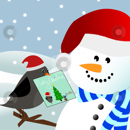 Bird giving christmas card to snowman stock vector clipart, Vector image of a blackbird giving a christmas card to a snowman in a winter environment by Jesper Hagemeier