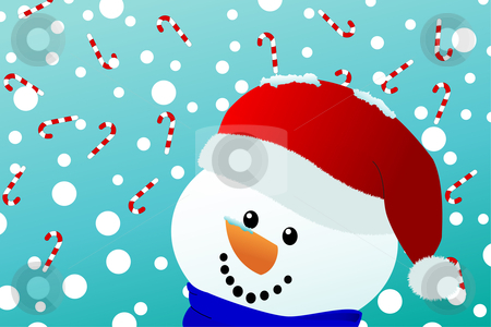 Smiling snowman with falling candy canes stock vector clipart, Vector of a happy snowman with santa hat looks upon falling snow and candy canes by Jesper Hagemeier