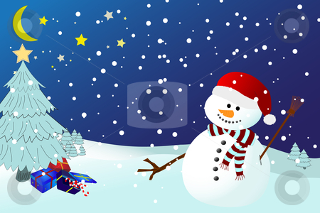 Snowman on a snowy winters night stock vector clipart, Vector of snowman on a snowy winters night, with presents underneath a christmas tree with star by nlrsss