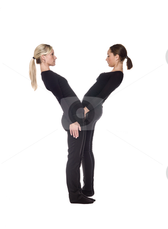 The letter 'Y' stock photo, The letter 'Y' formed by people dressed in black by Anne-Louise Quarfoth