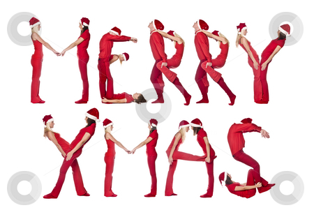Group of red dressed people forming the phrase 'MERRY XMAS' stock photo, Group of red dressed people forming the phrase 'MERRY XMAS', isolated on white. by Anne-Louise Quarfoth