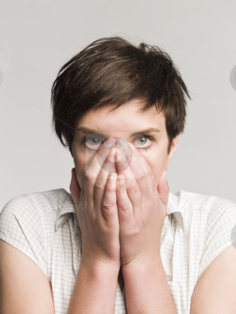 Portrait of an afraid woman stock photo, Portrait of an afraid woman by Anne-Louise Quarfoth