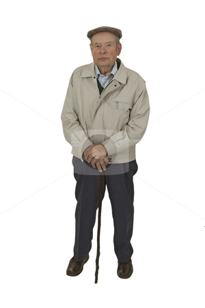 Senior with walking stick stock photo, An elderly man walking stick isolated on white. by Birgit Reitz-Hofmann