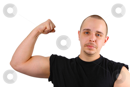 Showing Biceps stock photo, Young caucasian men shows biceps isolated on ...