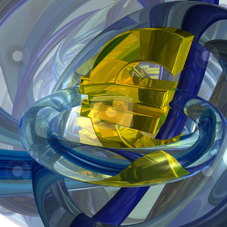 Euro symbol stock photo, Abstract futuristic background with euro symbol - 3d illustration by J?