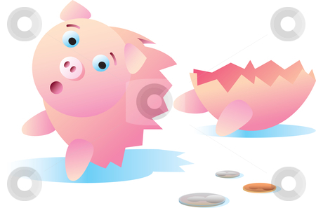 Break The Bank stock vector clipart, A worried piggy bank broken in half. by Jamie Slavy