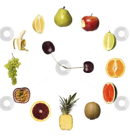 Fruit clock stock photo, Fruit clock by Anne-Louise Quarfoth