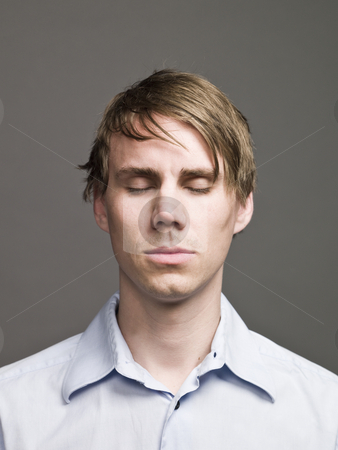 Portrait of a man with closed eyes stock photo, Portrait of a man with closed eyes by Anne-Louise Quarfoth