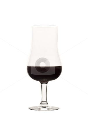 Glass of red wine isolated on white background stock photo, Glass of red wine isolated on white background by Anne-Louise Quarfoth